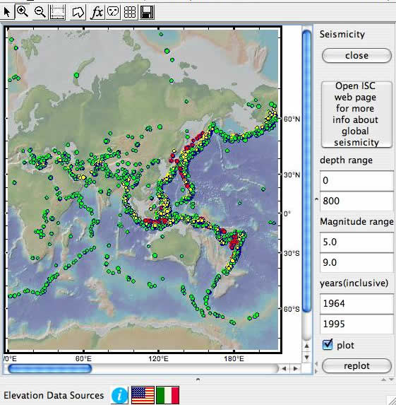 Geomapapp the earthquake locations and epicenters database shows global earthquake locations that can be selected and colored using a number of criteria gumiabroncs Choice Image